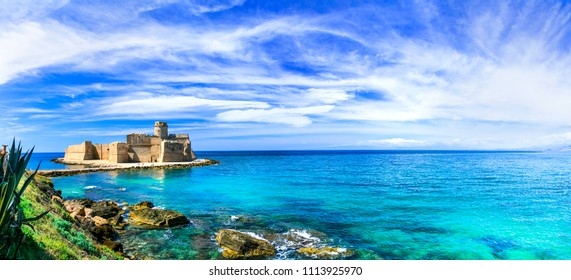 Le Castella .Isola di Capo Rizzuto - fantastic place with castle in turquoise sea. Calabria, Italy