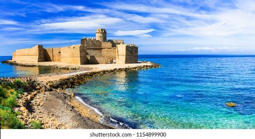 Le Castella .Isola di Capo Rizzuto - amazing castle and beautiful sea. Calabria, Italy