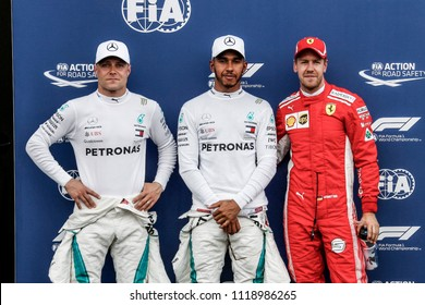 Le Castellet, France. 23/06/2018. Qualifying of Grand Prix of France. F1 World Championship 2018. Lewis Hamilton get a pole position leading Bottas and Vettel.