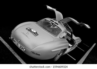 Le Castellet, France - 24th April 2010 : Mercedes 300 SL Gullwing in the paddock of Tour Auto, black and white art shot