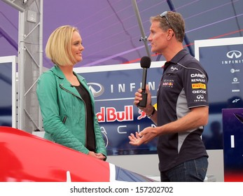LE CASTELLET, FRANCE - SEPTEMBER 28: Former F1 driver David Coulthard being interviewed during the World Series by Renault event at Circuit Paul Ricard HTTT, September 28, 2013 in Le Castellet.