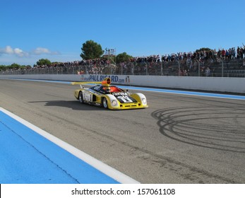 LE CASTELLET, FRANCE - SEPTEMBER 29: The 1978 Renault Alpine A443 prototype on the finish straight during the World Series by Renault Classic show event on September 29, 2013 in Le Castellet, France.