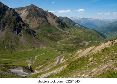 Le Col du Tourmalet, Pyrenees, France : (2115 m / 6939 ft) : the highest road in the central Pyrenees. One of the most famous climbs on the Tour de France.