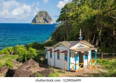 Le Diamant, Martinique, France - 26 July 2017: Maison du Bagnard at Le Diamant in Martinique and Diamond Rock in the distance