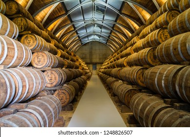 Le Francois, Martinique, France - Oct 05 2018: Barrels with rum in Habitation Clément on Martinique