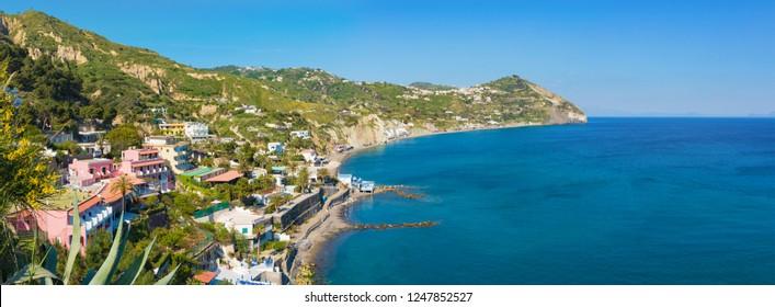 Le Fumarole beach near Sant'Angelo on Ischia island, Italy. Sant'Angelo is small village within comune of Serrara Fontana, Ischia.