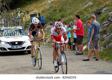 "LE GRAND COLOMBIER, FRANCE - AUG 13: Professional racing cyclists riding UCI WORLD TOUR race ""TOUR DE L'AIN"" on August 13, 2011 in Grand Colombier, Ain"
