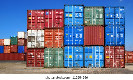 LE HAVRE, FRANCE - AUGUST 09: Shipping containers at the docks of the Havre. One of the largest ports of France's . The port includes 6.5 kilometres of docks; August 09, 2012 in Le Havre, France.