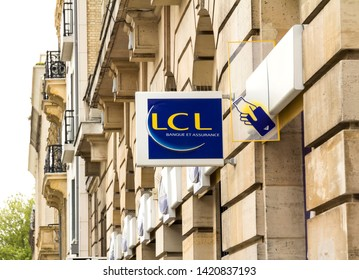Le Havre, France - MAY 07, 2019:  LCL Banque et assurance bank branch, a major French financial services company owned by Crédit Agricole. LCL is an abbreviation of Le Crédit Lyonnais, the former name