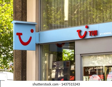 Le Havre, France - MAY 07, 2019: TUI travel agencies.Tui is a multinational travel and tourism company headquartered in Hannover, Germany