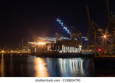Le Havre Port and its shipping activities in France at night