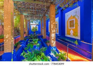 Le Jardin Majorelle, Marrakech, Morocco - November  12, 2017: Amazing tropical garden in Marrakech, Morocco.