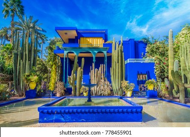 Le Jardin Majorelle, Marrakech, Morocco - November  14, 2017: Amazing tropical garden in Marrakech, Morocco.
