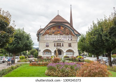 Le Locle, Switzerland-Sept. 03,2018:City hall of Le Locle in Jura mountains, Switzerland