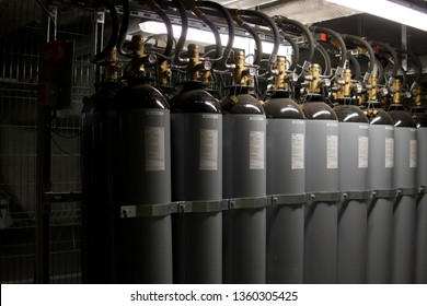 Le Mans, France - 5 March 2019: Nitrogen bottle used as gaseous extinguishing agent by inert gas It acts on the fire by reducing the oxygen content
