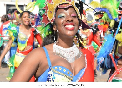 LE MANS, FRANCE - APRIL 22, 2017: Festival Evropa Europe jazz A woman dancing in Caribbean costumes