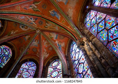 LE MANS, FRANCE - AUGUST 2, 2018: Angels musicians play heavenly concert . Fresco painted on the vaults of the chapel of the Virgin in Saint -Julien cathedral.