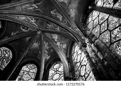 LE MANS, FRANCE - AUGUST 2, 2018: Angels musicians play heavenly concert . Fresco painted on the vaults of the chapel of the Virgin in Saint -Julien cathedral. Black and white photo.