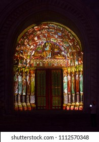LE MANS, FRANCE - AUGUST 28, 2016: Night of chimera Illuminated perfomance on the wall of Roman and gothic cathedral Saint Julien