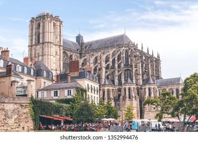 LE MANS, FRANCE - JULY 03, 2018: Roman cathedral of Saint Julien in Le Mans, Sarthe, Pays de la Loire, France
