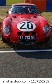 LE MANS, FRANCE, July 6, 2018 : Ferrari 250 GTO in the paddock during Le Mans Classic. No other event in the world assembles so many old racing cars in the same place than Le Mans Classic.