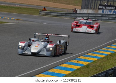 LE MANS, FRANCE, July 7, 2018 : Audi and Toyota at the Tertre Rouge during Le Mans Classic on the circuit of 24 hours. No other event in the world assembles so many old racing cars in the same place