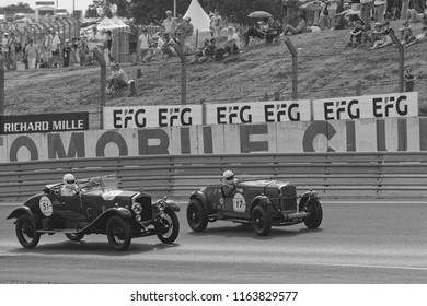 LE MANS, FRANCE, July 7, 2018 : Very old racing car on track during Le Mans Classic. No other event in the world assembles so many old racing cars in the same place than Le Mans Classic.