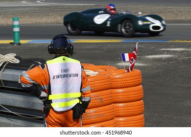 LE MANS, FRANCE, July 9, 2016 : An old Cooper at Mulsanne during Le Mans Classic on the circuit of the 24 hours. No other event in the world assembles so many old racing cars in the same place.