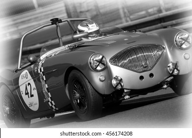 LE MANS, FRANCE, July 9, 2016 : Old racing car racing during Le Mans Classic on the circuit of the 24 hours. No other event in the world assembles so many old racing cars in the same place.
