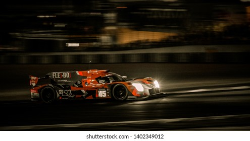 Le Mans / France - June 13-14 2017: 24 hours of Le Mans, night on race track of 24 hours of Le Mans, Ligier JSP217