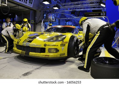 Le Mans, France - June 14 & 15 2008: Corvette C6R in the pit lane while racing in the 24 hour endurance race at Le Mans in France 2008