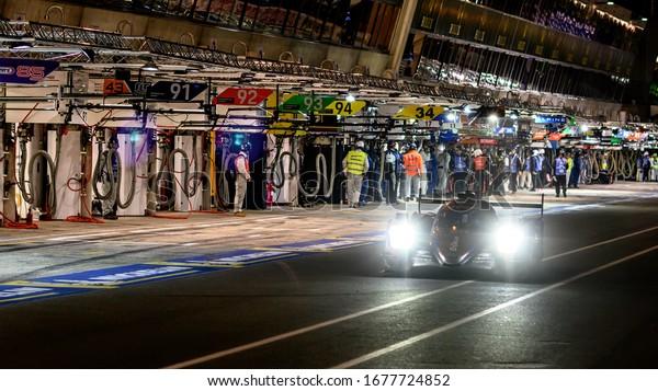 Le Mans / France - June 15-16 2019: 24 hours of Le Mans, G-Drive Racing  Team , Aurus 01 LMP2 restart from pit stop, Race of the 24 hours of Le Mans - France