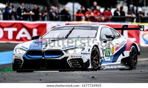 Le Mans / France - June 15-16 2019: 24 hours of Le Mans, BMW Team MTEK, BMW M8 GTE GTEPro, Race of the 24 hours of Le Mans - France