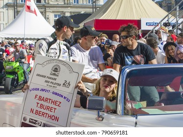 LE MANS, FRANCE - JUNE 16, 2017: Team of racers of Fabien Barthez - famous former french goalkeeper and racerm T.Buret N.Berthon at the parade of pilots racing 24 hours Le mans