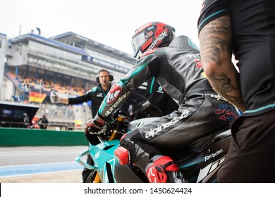 LE MANS - FRANCE, MAY 18: French Yamaha rider Fabio Quartararo at 2019 Shark MotoGP of France