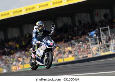 LE MANS - FRANCE, MAY 20: French Ducati rider Loris Baz at 2017 HJC MotoGP of France at Le Mans circuit on May 20, 2017