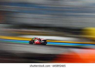 LE MANS - FRANCE, MAY 21: Spanish Aprilia rider Aleix Espargaro at 2017 HJC MotoGP of France at Le Mans circuit on May 21, 2017