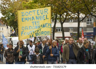 LE MANS, FRANCE - OCTOBER 10, 2017: People demonstrate during a strike against new laws of healf care system of a president of France Emmanuel Macron