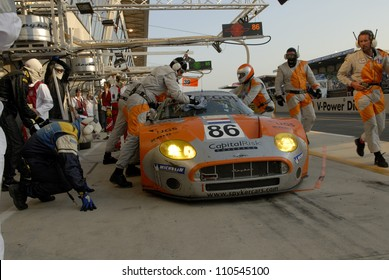 "LE MANS - JUNE 19: Tom Coronel in the Spyker C8 Spyder GT2R of the Spyker Squadron Racing Team, stops in the pit-lane for an check up ""24H of Le Mans 2005"" on June 19, 2005, la Sarthe circuit, France"