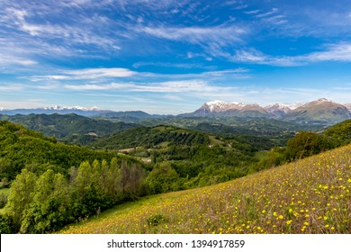 Le Marche region of Italy, from Smerillo towards the Sibillini mountains