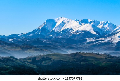 Le Marche Region of Italy, Views towards Sibillini Mountains