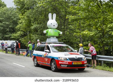 LE MARKSTEIN, FRANCE - JUL 13:Nijntje (Miffy) vehicle during  the passing of the Publicity Caravan on mountain pass Le Markstein in the stage 9 of Le Tour de France on July 13, 2014
