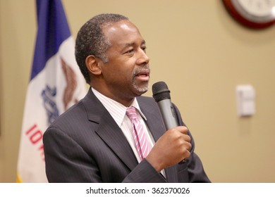 LE MARS, IOWA - JANUARY 11, 2016: Presidential candidate, Dr. Ben Carson, speaks at a campaign stop in Iowa.