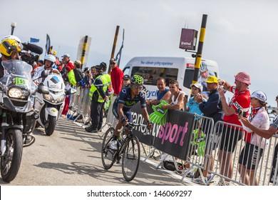 LE MONT VENTOUX, FRANCE-JUL 14: The cyclist Nairo Alexander Quintana Rojas  (Movistar Team), climbing  the ascension to Mont Ventoux during the stage 15 of Le Tour de France on July 14 2013.
