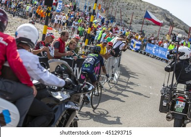 LE MONT VENTOUX, FRANCE-JUL 14: The Colombian cyclist Nairo Alexander Quintana Rojas (Movistar Team), climbing the ascension to Mont Ventoux during the stage 15 of Le Tour de France on July 14 2013.