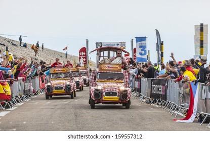 LE MONT VENTOUX, FRANCE-JUL 14:Cochonou cars during the passing of the publicity caravan on the road to Mont Ventoux during the stage 15 of the 100 edition of Le Tour de France on July 14 2013
