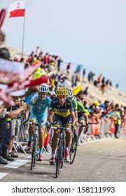 LE MONT VENTOUX, FRANCE-JUL 14:Group of cyclists including Roman Kreuziger and  Jakob Fuglsang,climb the ascension to Mont Ventoux in the stage 15 of Le Tour de France on July 14 2013