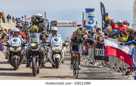 LE MONT VENTOUX, FRANCE-JUL 14:The cyclist Quintana Rojas (Movistar Team), climbing the last kilometer of the ascension to Mont Ventoux during the stage 15 of Le Tour de France on July 14 2013