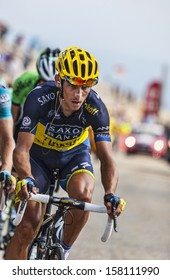 LE MONT VENTOUX, FRANCE-JUL 14:The Czech cyclis Roman Kreuziger (Team Saxo Thinkoff), climbing the last kilometer of the ascension to Mont Ventoux in the stage 15 of Le Tour de France on July 14 2013