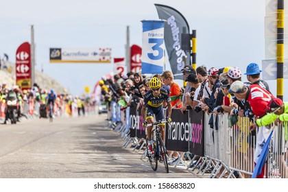 LE MONT VENTOUX, FRANCE-JUL 14:The cyclist Jesus Hernandez Blazquez(Saxo-Tinkoff Team),climbing the last kilometer of the ascension to Mont Ventoux in the stage 15 of Le Tour de France on July 14 2013